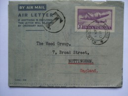 INDIA 1953 AIR LETTER BOMBAY TO ENGLAND WITH T CACHET - 1936-47  George VI