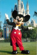 Mickey Mouse & Cinderella Castle, Disneyworld, Florida USA Postcard Used Posted To UK 1989 Stamp - Disneyworld