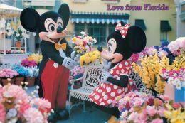 Mickey Minnie Mouse Flower Stall, Disneyworld, Florida USA Postcard Used Posted To UK 1993 Stamp - Disneyworld