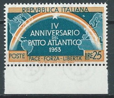 1953 ITALIA PATTO ATLANTICO 25 LIRE VARIETà MNH ** - JU046-3 - 6. 1946-.. República