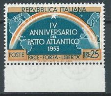 1953 ITALIA PATTO ATLANTICO 25 LIRE VARIETà MNH ** - JU046-3 - Abarten Und Kuriositäten