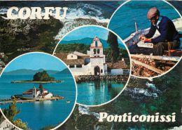 Ponticonissi, Corfu, Greece Postcard Used Posted To UK 1986 Nice Stamp - Grecia