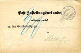 VR 50 Sarre Saar   Post-Zustellungensurkunde Völklingen 26.111895 Taxe 30 - Saargebiet