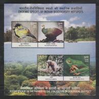 India 2012  BIRD  MEGAPODE  MONKEY  FROG  4v  BIODIVERSITY SOUVENIR SHEET # 55899  Inde Indien - Blocks & Sheetlets