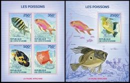 ic14110ab Ivory Coast 2014 Fishe 2 s/s