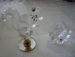 Lot  D' Ecureuils De Collections En Cristal - Pájaros