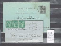 Lettre Cachet Convoyeur Pons à Coutras - Et Retour- 2 Piéces - Postmark Collection (Covers)