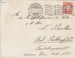 Bayern(V222)Brief Mit 10pf - Vom 14.2.07 - Von München Nach Bad Rothenfurth (Bahnstempel) - Bayern (Baviera)