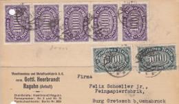 Deutsches Reich(V263)Inflations-Ausgabe Postkarte Vom 5.9.1923 Von Raguhn Nach Osnabrück - Storia Postale