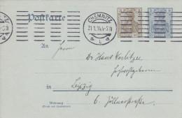 Deutsches Reich(V264)Postkarte 2pf+3pf,  Vom 31.1.1914 - Von Chemnitz Nach Leipzig - Storia Postale