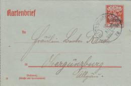 Deutsches Reich(V267)Kartenbrie F 40pf . Vom 10.Aug 1920 Von Unterschondorf Nach Obergünzburg - Storia Postale