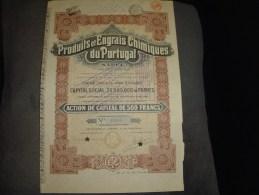 """Action De Capital""""Produits Et Engrais Chimiques Du Portugal""""Bruxelles 1926 Bon état,annulée - Landbouw"""