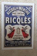 Alcool De Menthe - RICQLES  - Reproduction De Pub - Reclame