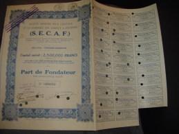 """Part Fondateur""""S.A. Pour L'élevage Et Le Commerce Des Animaux à Fourrure""""Cureghem Anderlecht 1928 - Agriculture"""