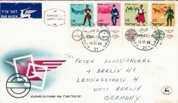 ISRAEL 1966 - Tag Der Briefmarke, 4 Fach Frankierung Auf LP-Brief Von Haifa > West Berlin - Israel