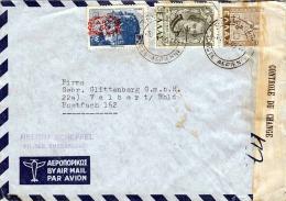 GRIECHENLAND 1949 - Zensurierter Brief 3 Fach Frankiert Von Thessaloniki > Velbert Rhld. - Griechenland