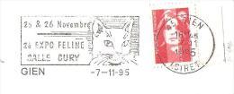 CACHET OBLITERATION FLAMME EMA GIEN EXPOSITION FELINE SALLE CURY CHAT    ENVELOPPE 22X11 - Marcofilia (sobres)
