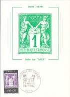 FRANCIA FRANCE 1976 JOURNEE DU TIMBRE TYPE SAGE - Cartoline Maximum