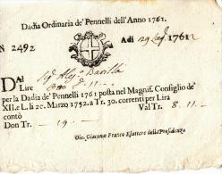 DE161-1762  PADOVA Documento DADIA ORDINARIA De'PENNELLI-di Gio.GIACOMO FRANCO ESATTORE Della PRESIDENZA - Documenti Storici