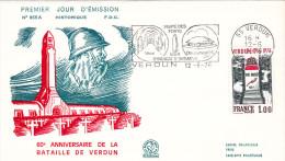 FDC FRANCE N°Yvert 1883 (VERDUN) Obl Sp FLAMME Ill 1er Jour - 1970-1979