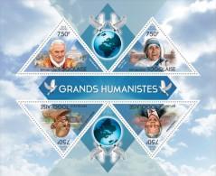 tg13407a Togo 2013 Great humanist Nebel Prize Pingeon Pope Benedict XVI Mandela Gandhi s/s Bird
