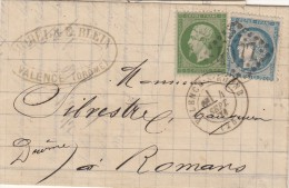 A5) LAC De Valence  (Drome) Pour Romans Le 4 Septembre 1871, Obl GC 4077, Bel Affranchissement De Septembre 71 - Storia Postale