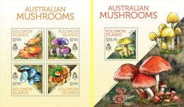 SOLOMON ISLAND 2013** M/S + S/S Australian Mushrooms Pilze Champignon A1408 - Pilze