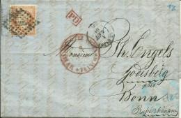 N°16 Obl Losange De Points Et Cachet Du HAVRE Pour BONN Prusse Rhénane 1861 - 1862 Napoléon III