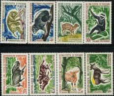 FB0590 Côte D'Ivoire 1963-64 Various Animal Monkey Antelope Wild Dogs 8v MNH - Côte D'Ivoire (1960-...)