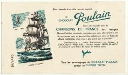 Buvard Chocolat Poulain Chansons De France Enfantines Hardi Les Gars Bateau Voilier - Chocolat