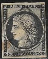 N° 3 FRANCE OBLITERE - Cérès  20c Noir Et Jaune  1849 -  Filet Droit Touché Haut Droite - 1849-1850 Ceres