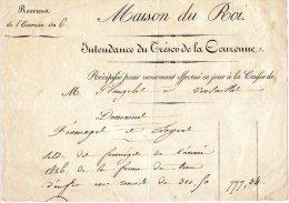 FRANCE - Maison Du Roi Recette De 1826 Pour Un Domaine En Fermage - Documents Historiques