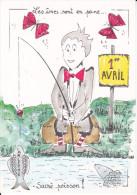 CPM 1 ER AVRIL POISSON D AVRIL DESSIN ARLETTE LECOINTRE 55/70 ED JLUC PAPILLONS LES AMES SONT EN PEINE  PECHE A LA LIGNE - 1er Avril - Poisson D'avril