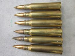 LOT DE 6 OBUS DE 25 MM ANTI-CHAR FRANCAIS - FABRICATION 1937 - Armes Neutralisées