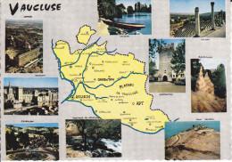 CPSM DEPARTEMENT CONTOUR GEOGRAPHIQUE VAUCLUSE 84 ED CELLARD FOND JAUNE - Maps