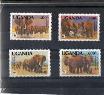 LOT 97 - OUGANDA N° 316/319 ** - ELEPHANTS - Cote 15€ - Unused Stamps