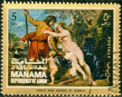 MANAMA, EMIRATI ARABI UNITI, PITTORI, RUBENS, 1972, FRANCOBOLLO USATO, Mi 451A, YT 41E - Manama
