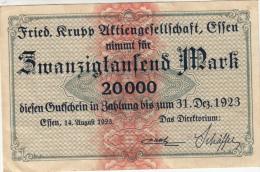 Billets - B1128-  Allemagne   - Gutschein Krupp Esse   20 000 Mark   ( Type, Nature, Valeur, état... Voir  Double Scan) - Duitsland