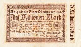 Billets - B1132 - Allemagne - Notgeld Oberhausen 5 Millionen Mark    ( Type, Nature, Valeur, état... Voir  Double Scan) - [11] Lokale Uitgaven