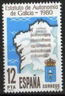 TIMBRE ESPAGNE NOUVEAU 1981 STATUT D´AUTONOMIE DE COMMUNAUTÉ L´ESPAGNE HÉRALDIQUE MUSIQUE ÉCRITE DE L´HYMNE DE GALICIA - Sellos