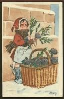 Cartes Postales HENRI N°110 / LA PETITE MARCHANDE DE FLEURS (VIOLETTES ?) - Dessins D'enfants