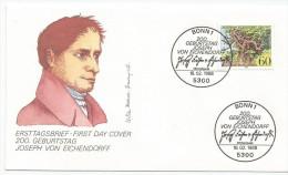 Allemagne RFA 1988 1188 FDC - Écrivain Joseph Von Eichendorff - Bois Gravé - Arbre - Bäume