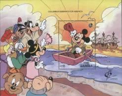 Micky´s Voyage As Columbus, Columbus Embarks For America, Explorer, Ship, Boat, Walt Disney Cartoon, MS MNH Gambia - Cristoforo Colombo