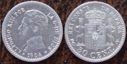 (J) ESPAÑA - SPAIN - Alfonso XIII: Silver 50 Centimos 1904-10 AU (55) SALE!!!! - [ 1] …-1931 : Royaume