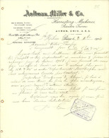 FACTURE LETTRE 1904 AKRON OHIO USA AULTMAN MILLER HARVESTING MACHINES BINDER TURNE - United States