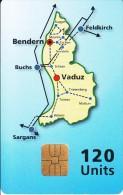 LIECHTENSTEIN - Map Of Liechtenstein, Cardintell Demonstration Card 120 Units, Tirage 3000, Used - Liechtenstein