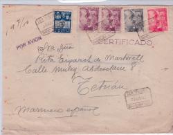 01858 Carta Certificada De Barcelona A Tetuan Franqueo Interesante 1942 - Marcas De Censura Nacional