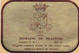 FRANCE BEAUVOIS CHATEAU HOTEL DE FRANCE VINTAGE LUGGAGE LABEL
