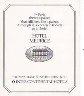 FRANCE PARIS HOTEL MEURICE VINTAGE LUGGAGE LABEL