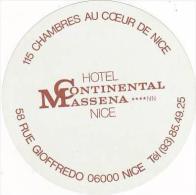 FRANCE NICE HOTEL CONTINENTAL MASSENA VINTAGE LUGGAGE LABEL - Hotel Labels